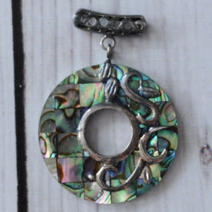 vintage large abalone pendant circle dangle silver
